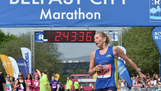 Pacemaker Press 7/5/2018  Kilkeel's Laura Graham comes second in the ladies 37th annual Belfast City Marathon , on May Bank holiday Monday, with thousands of participants taking part in the Marathon , relay and fun runners. Pic Colm Lenaghan/Pacemaker
