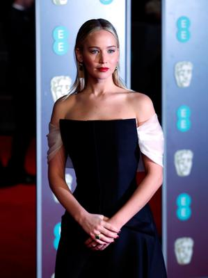 Jennifer Lawrence attending the EE British Academy Film Awards held at the Royal Albert Hall, Kensington Gore, Kensington, London. PRESS ASSOCIATION Photo. Picture date: Sunday February 18, 2018. See PA Story SHOWBIZ Bafta. Photo credit should read: Yui Mok/PA Wire.