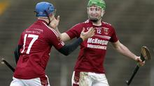 Cusp of glory: Cushendall's Karl McKeegan and Sean McAfee celebrate victory in the All-Ireland club semi-final