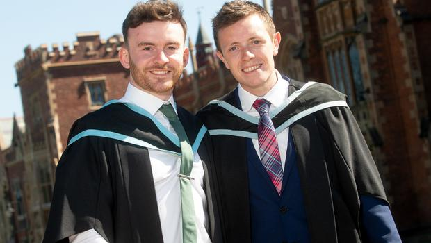 Images from the 10.30am graduation ceremony on Tuesday 3rd July Queen's University Belfast Friends Aaron Carey and Gareth Stephenson both graduate today with a First Class Honours Degree in Product Design Engineering from the School of Mechanical and Aerospace Engineering at Queen's University.