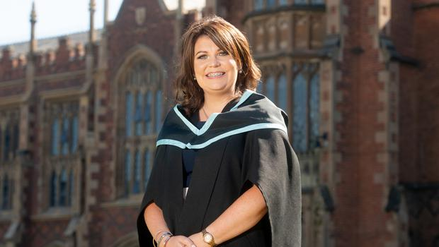 Images from the 10.30am graduation ceremony on Tuesday 3rd July Queen's University Belfast Ita McAndrews graduates today with a BSc Degree in Midwifery Sciences from the School of Nursing and Midwifery at Queen's University.