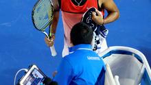 Angry: Nick Kyrgios argues with the main chair umpire