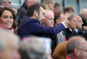 Press Eye - Belfast - Northern Ireland - 8th October 2016 -   The National Football Stadium at Windsor Park Opening Game and Ceremony  Northern Ireland vs San Marino 2018 FIFA World Cup Qualifier  Deputy First Minister Martin McGuinness with Gerry Mallon from the Irish FA watches Northern Ireland vs San Marino  Photo by Kelvin Boyes / Press Eye