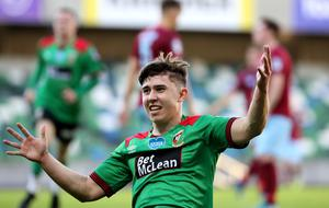 Paul O'Neill celebrates opening the scores for Glentoran in the Irish Cup final.