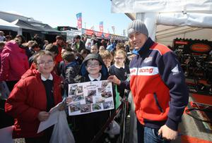 ?Press Eye Ltd Northern Ireland 17th March 2013 - Mandatory Credit - Picture by Matt Mackey/presseye.com  The Vauxhall International 2013 North West 200 road races. John McGuinness pictured in the Paddock along with pupils from Laney Primary School.
