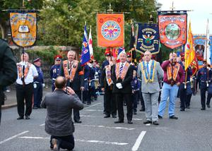 Picture - Kevin Scott / Presseye  The return parade makes its way past the Ardoyne shopfront towards the finishing point.  on October 1st 2016 , Northern Ireland (Photo by Kevin Scott / Presseye)