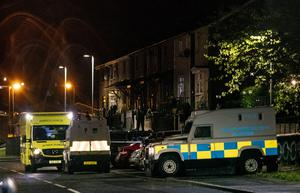 Police at the scene of a murder in the Lenadoon Avenue area of west Belfast on May 17th 2020 (Photo by Kevin Scott for Belfast Telegraph)