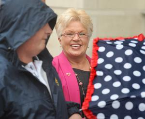 The DUP's Ruth Patterson at Belfast Magistrates' Court today where she was facing charge connected to a social media post. Pic Alan Lewis
