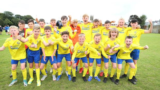 PressEye-Northern Ireland- 1st August 2019-Picture by Brian Little/PressEye Dungannon United Youth  celebrate after a penalty shoot-out victory against  Ballymena United  in  STATSports SuperCupNI  Semi Final , at Anderson Park, Coleraine . Picture by Brian Little/PressEye