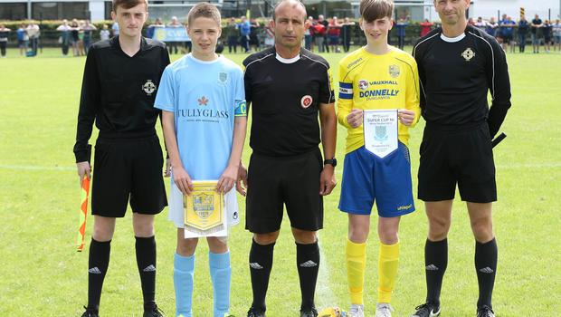 PressEye-Northern Ireland- 1st August 2019-Picture by Brian Little/PressEye Dungannon United Youth   and Ballymena United  in  STATSports SuperCupNI  Semi Final , at Anderson Park, Coleraine . Picture by Brian Little/PressEye