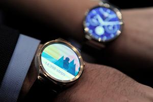 """(FILES) A photo taken on March 1, 2015 the new Huawei's device """"Huawei Watch"""" during a press conference in Barcelona on March 1, 2015 on the eve of the 2015 Mobile World Congress opening. Chinese electronic giant Huawei launched the commercialization of the Huawei Watch on September 2, 2015 in Berlin, prior to the opening of the 55th IFA (Internationale Funkausstellung), one of the world's biggest consumer electronics shows. AFP PHOTO / JOSEP LAGOJOSEP LAGO/AFP/Getty Images"""