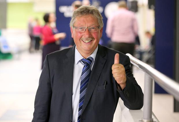 Press Eye - Belfast - Northern Ireland - 9th June 2017 -  Westminster General Election 2017 The election count at Valley Leisure Centre Newtownabbey for East Antrim and South Antrim  DUP's Sammy Wilson  Photo by Matt Mackey / Press Eye.