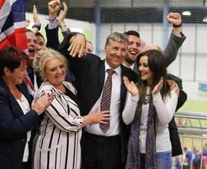Press Eye - Belfast - Northern Ireland - 9th June 2017 -  Westminster General Election 2017 The election count at Valley Leisure Centre Newtownabbey for East Antrim and South Antrim  DUP's Paul Girvan  Photo by Matt Mackey / Press Eye.