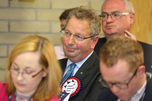 Press Eye - Belfast - Northern Ireland - 9th June 2017 -  Westminster General Election 2017 The election count at Valley Leisure Centre Newtownabbey for East Antrim and South Antrim  UUP Danny Kinahan  Photo by Matt Mackey / Press Eye.