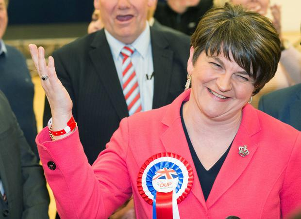 NI Assembly Election 2017 Count at Omagh Leisure Complex for West Tyrone and Fermanagh & South Tyrone constituencies. Arlene Foster, DUP pictured during the announcement that she has been re-elected. Picture by Trevor Lucy / Press Eye.