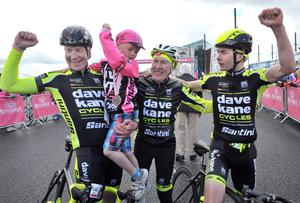 Alan Lewis- PhotopressBelfast.co.uk        21-6-2015 Three generations of the Kane Cycles family celebrate Marke Kanes win at the end of the Giro dItalia Gran Fondo at the Titanic slipway finishing line this afternoon.  Winner Mark Kane on right with his father Dave nephew Ryan and brother Paul ,(left) who finished second behind his brother.