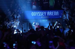 Belfast's Carl Frampton walks to the ring to face Hugo Cazares from Mexico in Friday night's WBC Super-Bantamweight title final eliminator at Belfast's Odyssey Arena