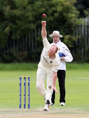 Press Eye - Cricket - CIYMS v Derriaghy - NCU Premier League 14th August 2016 Photograph by Declan Roughan  CIYMS' Allen Coulter bowling against Derriaghy