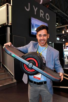 LAS VEGAS, NV - JANUARY 05:  Brandon Yamawaki displays the Jyro Roll at CES 2017 at the Sands Expo and Convention Center on January 5, 2017 in Las Vegas, Nevada. The USD 1,299, self-balancing, single-wheel skateboard will be available in the Fall of 2017. CES, the world's largest annual consumer technology trade show, runs through January 8 and features 3,800 exhibitors showing off their latest products and services to more than 165,000 attendees.  (Photo by Ethan Miller/Getty Images)