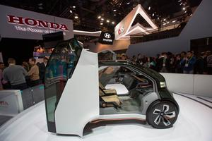 The new Honda NeuV concept vehicle is displayed during CES at the Las Vegas Convention Center in Las Vegas,ÊNevada, January 5, 2017. / AFP PHOTO / DAVID MCNEWDAVID MCNEW/AFP/Getty Images