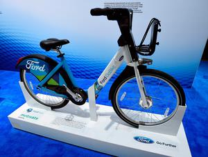 LAS VEGAS, NV - JANUARY 05:  A Ford GoBike is displayed at the Ford booth at CES 2017 at the Las Vegas Convention Center on January 5, 2017 in Las Vegas, Nevada. CES, the world's largest annual consumer technology trade show, runs through January 8 and features 3,800 exhibitors showing off their latest products and services to more than 165,000 attendees.  (Photo by David Becker/Getty Images)