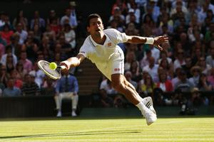 LONDON, ENGLAND - JULY 06:  Novak Djokovic of Serbia dives to make a return during the Gentlemen's Singles Final match against Roger Federer of Switzerland on day thirteen of the Wimbledon Lawn Tennis Championships at the All England Lawn Tennis and Croquet Club on July 6, 2014 in London, England.  (Photo by Matthew Stockman/Getty Images)