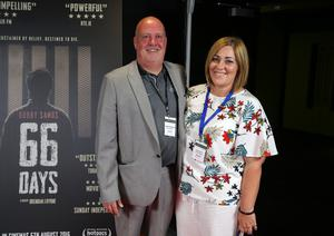 Press Eye Belfast - Northern Ireland - 31st July 2016    Ciaran Morrison and Cath Kelly are pictured at the film premiere of Bobby Sands: 66 Days at the Omniplex Cinema at the Kennedy Centre in west Belfast.  The premiere was hosted with Féile An Phobail and West Belfast Film Festival.  Photo by Kelvin Boyes  / Press Eye