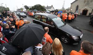 Alan Lewis - PhotopressBelfast.co.uk     11/7/2018 Mandatory Credit - Picture by Justin Kernoghan Thousands of mourners have gathered in County Antrim for the funeral of road racer William Dunlop. The Ballymoney rider died after a crash during practice at a race meeting in the Republic of Ireland on Saturday. A service is being held at Garryduff Presbyterian Church near the 32-year-old's hometown of Ballymoney. William's death comes after his father Robert died at the North West 200 in 2008 and his uncle Joey Dunlop was killed in a crash in 2000.