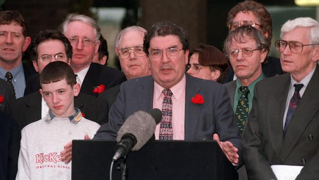 PACEMAKER BELFAST   10/4/1998 The Good Friday Agreement signing. SDLP party leader John Hume and his talks team emerge from Castle Buildings to give their take on the signing of the Good Friday Agreement.