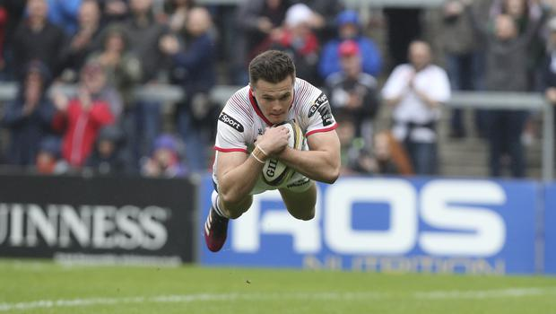 Lift off: Jacob Stockdale goes over spectacularly for a crucial Ulster try