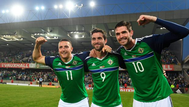 BELFAST, NORTHERN IRELAND - MAY 27: Northern Ireland's Kyle Lafferty (R), Will Grigg (C) and Conor Washington (L) after the international friendly game between Northern Ireland and Belarus on May 26, 2016 in Belfast, Northern Ireland. (Photo by Charles McQuillan/Getty Images)