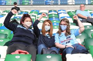 PACEMAKER PRESS BELFAST  31/7/2020  Ballymena United fans in the National Stadium, Belfast for the Irish Cup Final between  Ballymena United and Glentoran. PICTURE BY STEPHEN DAVISON
