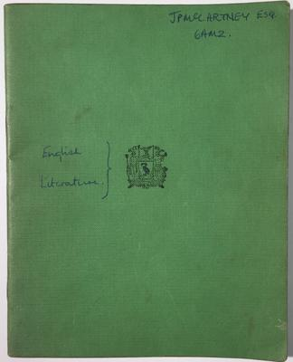 The front of the exercise book (Omega Auctions)