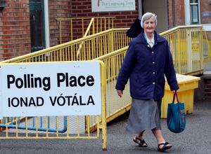 Sister Loreto Ryan of the Sisters of Charity leaves after voting at a polling station in Drumcondra, north Dublin on May 22, 2015. Ireland took to the polls today to vote on whether same-sex marriage should be legal, in a referendum that has exposed sharp divisions between communities in this traditionally Catholic nation.