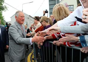 The Prince of Wales meets the public after visiting the Cartoon Saloon in Kilkenny. PA