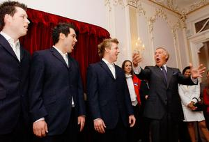 Sir Bruce Forsyth with Opera group G4. Yui Mok/PA Wire