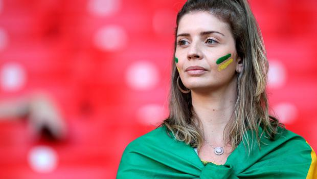MOSCOW, RUSSIA - JUNE 27:  A Brazil fan enjoys the pre match atmosphere prior to the 2018 FIFA World Cup Russia group E match between Serbia and Brazil at Spartak Stadium on June 27, 2018 in Moscow, Russia.  (Photo by Buda Mendes/Getty Images)