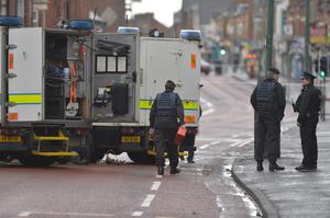 A man, believed to be a prison officer, has been taken to hospital after a device exploded under a van in east Belfast. Photo Colm Lenaghan/Pacemaker Press