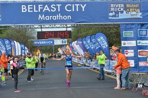 Pacemaker Press 1/5/2017  Local Women Laura Graham who wins the first lady runner   during the Belfast City Marathon on Bank Holiday Monday, with over 15,000 people taking part threw the streets of Belfast, with the Finish line at Ormeau Park. Pic Colm Lenaghan/Pacemaker