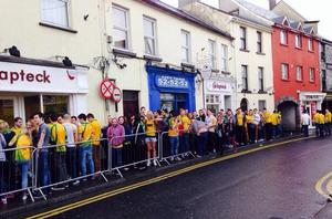 Students queue outside pubs in Galway for 'Donegal Tuesday'. Photo Twitter/@CityTaxisGalway