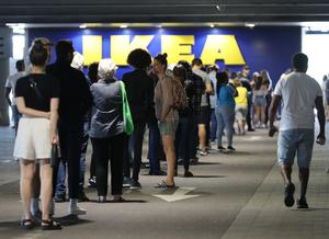 Customers formed long queues as Ikea reopened in England and Northern Ireland (Yui Mok / PA)