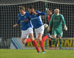 PACEMAKER BELFAST  07/02/2017 Linfield v Crusaders Co Antrim Shield Final LinfieldÕs Mark Stafford scores   during this evenings final at warden Street in Ballymena. Photo Colm Lenaghan/Pacemaker Press
