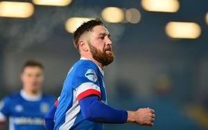 PACEMAKER BELFAST  07/02/2017 Linfield v Crusaders Co Antrim Shield Final. LinfieldÕs Mark Stafford pictured after scoring his teams 2rd goal during this evenings final at warden Street in Ballymena. Picture By: Arthur Allison/Pacemaker Press