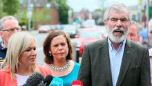Sinn Fein's Northern Ireland leader Michelle O'Neill (left) and party president Gerry Adams (right) speaking outside Sinn Fein offices on the Falls Road in Belfast after the party emerged with seven MPs following the General Election. PA