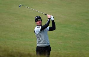 NEWCASTLE, NORTHERN IRELAND - MAY 29:  Steve Webster of England hits his 2nd shot on the 13th hole during the Second Round of the Dubai Duty Free Irish Open Hosted by the Rory Foundation at Royal County Down Golf Club on May 29, 2015 in Newcastle, Northern Ireland.  (Photo by Ross Kinnaird/Getty Images)