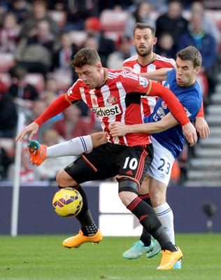 Sunderland's Connor Wickham (left) and Everton's Seamus Coleman battle for the ball during the Barclays Premier League match at the Stadium of Light, Sunderland. Owen Humphreys/PA Wire.