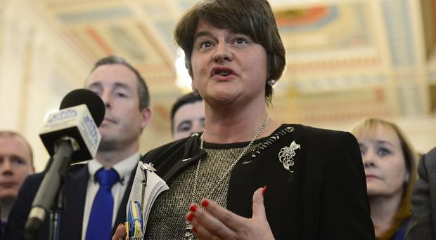 DUP leader Arlene Foster and party members pictured at Stormont where local MLAs returned to the chamber to debate laws on abortion and same sex marriage which will change at midnight