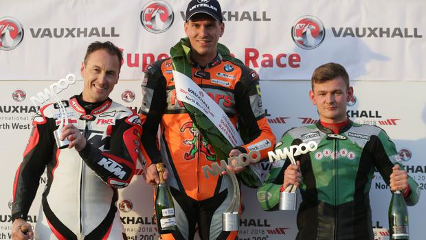 Jess for starters: Martin Jessop tastes victory in the Supertwin race. Jeremy McWilliams (left) was second and Joey Thompsonthird