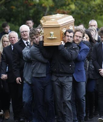 Friends and Family carry the coffin of Stephen Wilkinson from The Church of The Blessed Sacrament Mullinahoe for burial.  Stephen died as a result of a road traffic accident. Pic by Peter Morrison