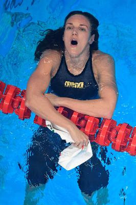 Hungary's Katinka Hosszu reacts after she won the Women's 200m Individual Medley Final during the swimming event at the Rio 2016 Olympic Games at the Olympic Aquatics Stadium in Rio de Janeiro on August 9, 2016.   / AFP PHOTO / François-Xavier MARITFRANCOIS-XAVIER MARIT/AFP/Getty Images